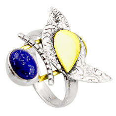 2.01cts natural lapis lazuli 925 silver 14k gold solitaire ring size 7.5 r37310