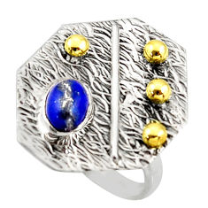 1.51cts natural lapis lazuli 925 silver 14k gold solitaire ring size 6 r37332