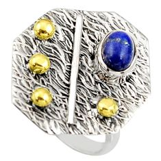 1.64cts natural lapis lazuli 925 silver 14k gold solitaire ring size 7 r37333