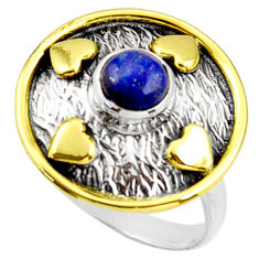 1.17cts natural lapis lazuli 925 silver 14k gold solitaire ring size 9 r37294