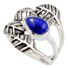 2.51cts natural lapis lazuli 925 silver solitaire leaf ring size 6.5 r37045