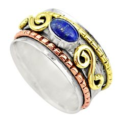 1.00cts natural lapis lazuli 925 silver two tone spinner ring size 9.5 t12645