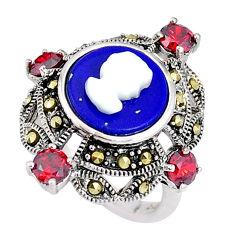 Natural blue lapis lazuli pearl enamel lady face 925 silver ring size 7 c16361