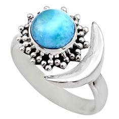3.16cts natural larimar 925 silver adjustable half moon ring size 7.5 r53203