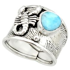 3.44cts natural larimar 925 silver scorpion charm solitaire ring size 7.5 r22403