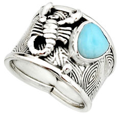 3.51cts natural larimar 925 silver scorpion charm solitaire ring size 7.5 r22410