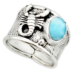 2.90cts natural larimar 925 silver scorpion charm solitaire ring size 8 r22416
