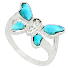 Natural larimar topaz 925 sterling silver butterfly ring size 7 a46884 c15171