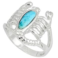 Natural larimar white topaz 925 silver scorpion charm ring size 6 a33058 c15189