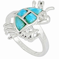 Natural larimar white topaz 925 sterling silver crab ring size 8 a33024 c15149