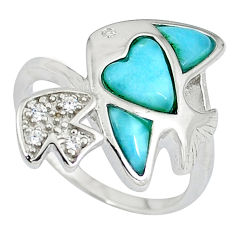 Natural larimar white topaz 925 sterling silver fish ring size 7 a33209 c15105