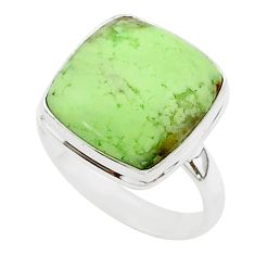 14.35cts natural lemon chrysoprase 925 silver solitaire ring size 9.5 r95641