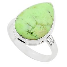 13.65cts natural lemon chrysoprase 925 silver solitaire ring size 10 r95769