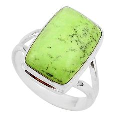 10.13cts natural lemon chrysoprase 925 silver solitaire ring size 8 r95779