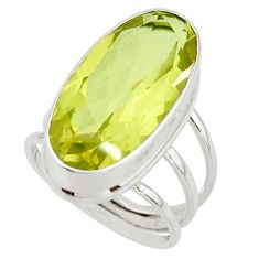 17.09cts natural lemon topaz 925 sterling silver ring jewelry size 7.5 r42126