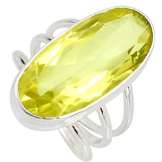 14.04cts natural lemon topaz 925 sterling silver solitaire ring size 8.5 r27082