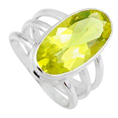 7.78cts natural lemon topaz 925 sterling silver solitaire ring size 7.5 r55983