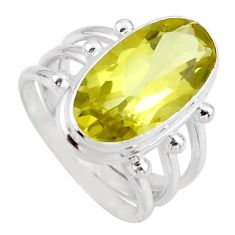 8.44cts natural lemon topaz 925 sterling silver solitaire ring size 7.5 r55990