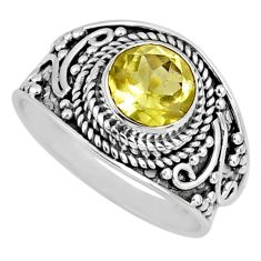 2.61cts natural lemon topaz 925 sterling silver solitaire ring size 7.5 r57991