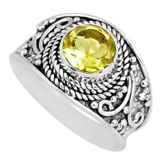 2.78cts natural lemon topaz 925 sterling silver solitaire ring size 7.5 r57992