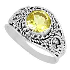 2.42cts natural lemon topaz 925 sterling silver solitaire ring size 7.5 r57993