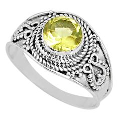 2.59cts natural lemon topaz 925 sterling silver solitaire ring size 9.5 r58000