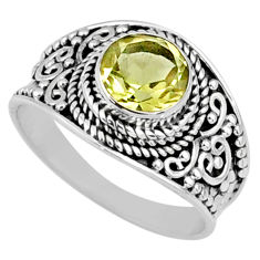 2.61cts natural lemon topaz 925 sterling silver solitaire ring size 7.5 r58646