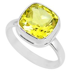 5.12cts natural lemon topaz 925 sterling silver solitaire ring size 6 r77937