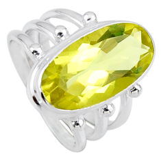 8.44cts natural lemon topaz 925 sterling silver solitaire ring size 7 r55982