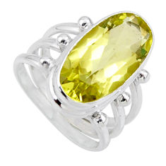 8.24cts natural lemon topaz 925 sterling silver solitaire ring size 7 r55989