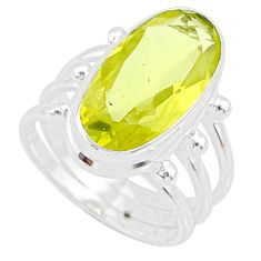 9.65cts natural lemon topaz 925 sterling silver solitaire ring size 7 r73491