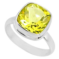 5.32cts natural lemon topaz 925 sterling silver solitaire ring size 7 r77936
