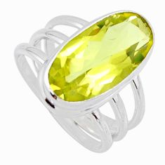 7.51cts natural lemon topaz 925 sterling silver solitaire ring size 8 r55981