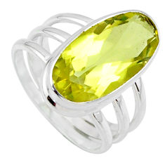 7.52cts natural lemon topaz 925 sterling silver solitaire ring size 8 r55986