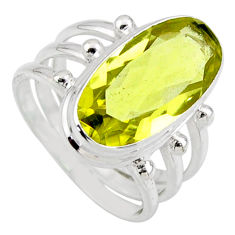 8.24cts natural lemon topaz 925 sterling silver solitaire ring size 8 r55987