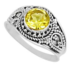 2.27cts natural lemon topaz 925 sterling silver solitaire ring size 8 r57996