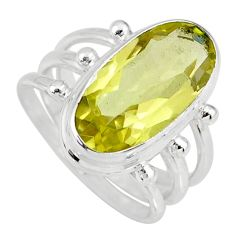 8.61cts natural lemon topaz 925 sterling silver solitaire ring size 8 r58661