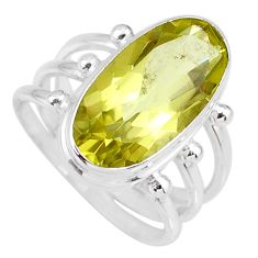 9.14cts natural lemon topaz 925 sterling silver solitaire ring size 8 r58667