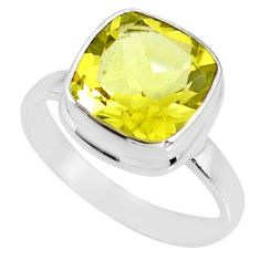 5.38cts natural lemon topaz 925 sterling silver solitaire ring size 8 r77931