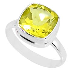 5.38cts natural lemon topaz 925 sterling silver solitaire ring size 8 r77939