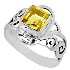2.81cts natural lemon topaz 925 sterling silver solitaire ring size 9 r54431