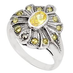 0.97cts natural lemon topaz marcasite 925 sterling silver ring size 6 c25861