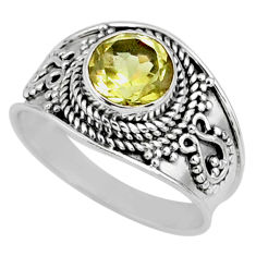2.61cts natural lemon topaz round sterling silver solitaire ring size 8 r58644
