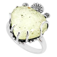 13.15cts natural libyan desert glass 925 silver heart ring size 9 r67505