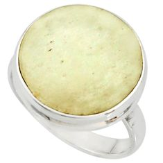 13.15cts natural libyan desert glass 925 silver solitaire ring size 8.5 r37833