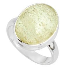 9.56cts natural libyan desert glass 925 silver solitaire ring size 7.5 r37843