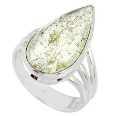 8.24cts natural libyan desert glass 925 silver solitaire ring size 7.5 r64446