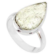 7.97cts natural libyan desert glass 925 silver solitaire ring size 7.5 r64454
