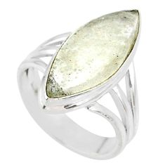 7.60cts natural libyan desert glass 925 silver solitaire ring size 5.5 r64456