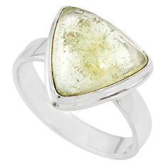 6.57cts natural libyan desert glass 925 silver solitaire ring size 8.5 r64475